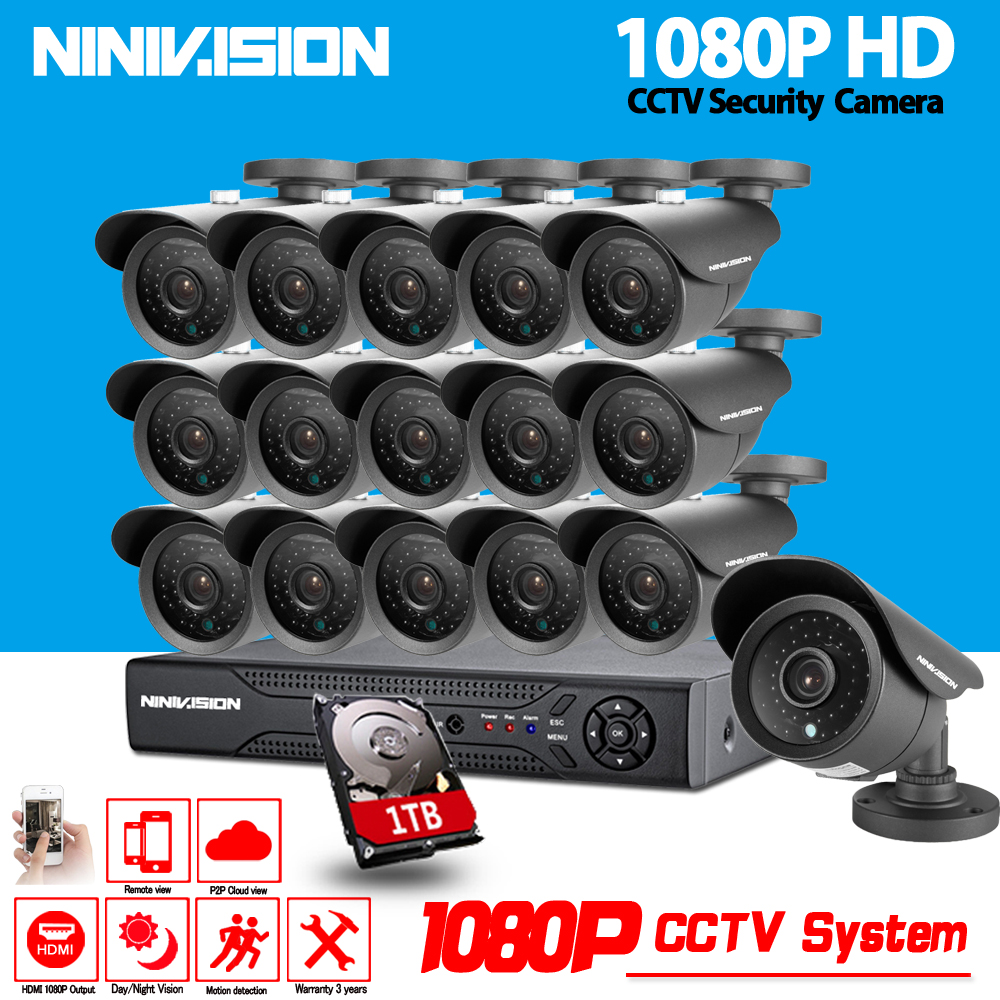 NINIVISION 16CH CCTV System 1080P AHD CCTV DVR System HD 16PCS CCTV Cameras 2.0MP Megapixels Enhanced IR Security Camera 1TB HDD