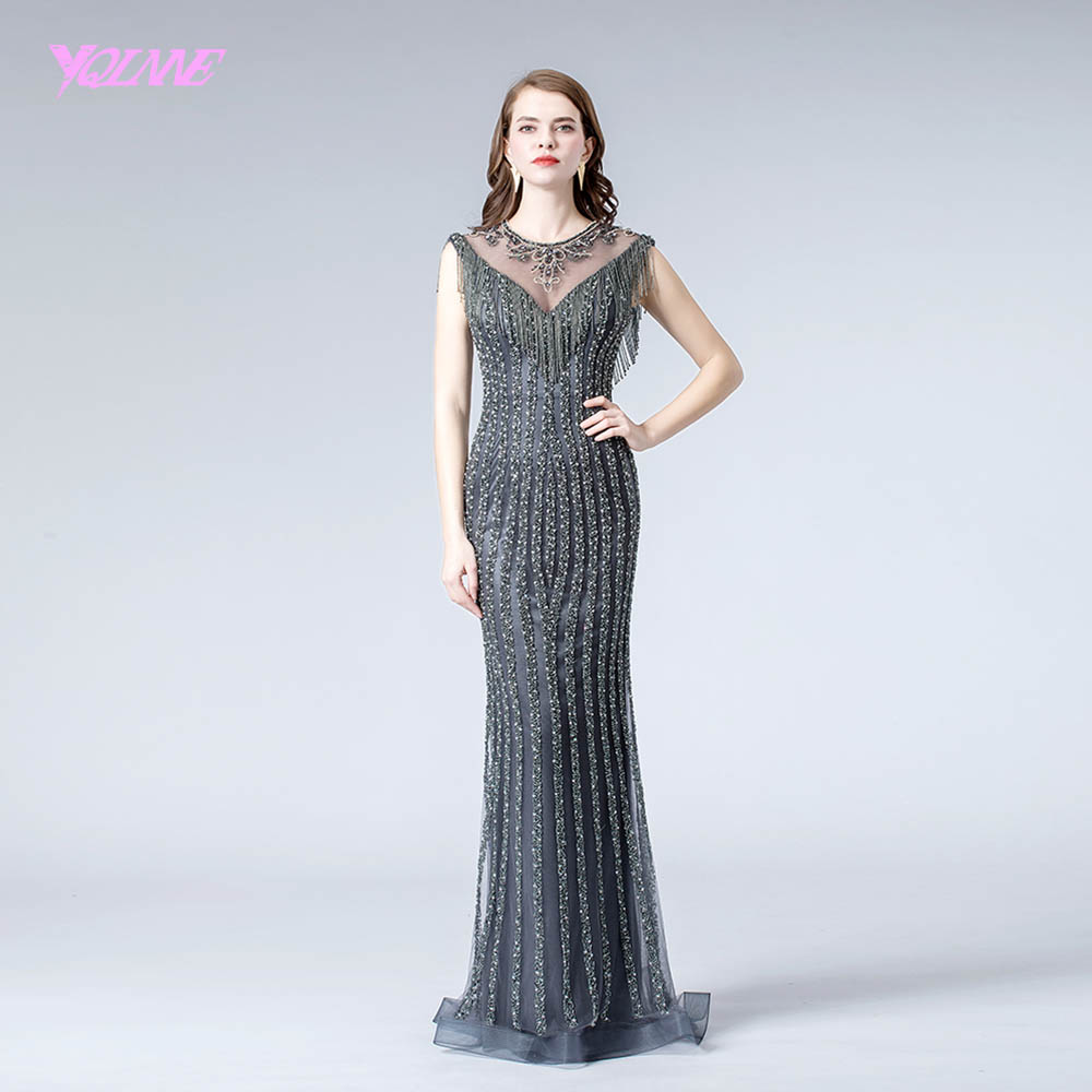 2019 Gray Crystals Evening Dress Long Formal Evening Gown Beaded Mermaid Dresses YQLNNE