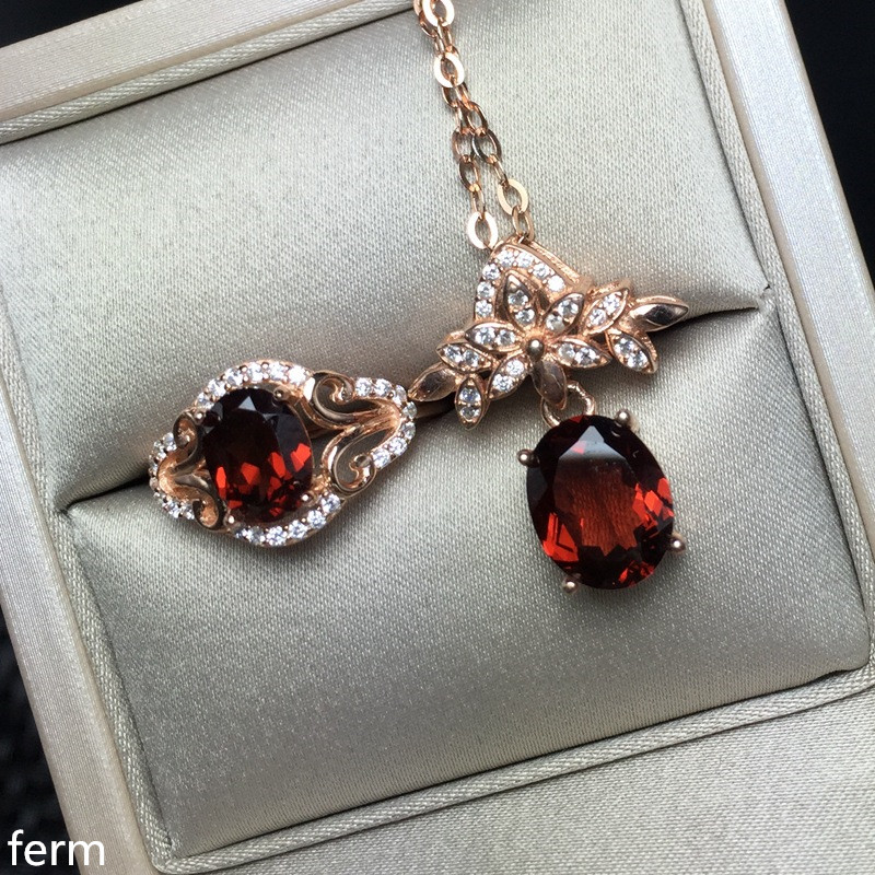 KJJEAXCMY boutique jewels 925 pure silver inlaid natural garnet pendant ring 2 sets flowers flow curve new styleKJJEAXCMY boutique jewels 925 pure silver inlaid natural garnet pendant ring 2 sets flowers flow curve new style