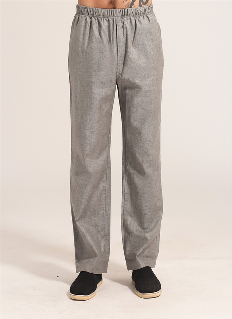 New Arrival Gray Men's Tai Chi Kung Fu Pants Chinese Style Male Cotton Linen Trousers With Pocket Size M L XL XXL XXXL MP014