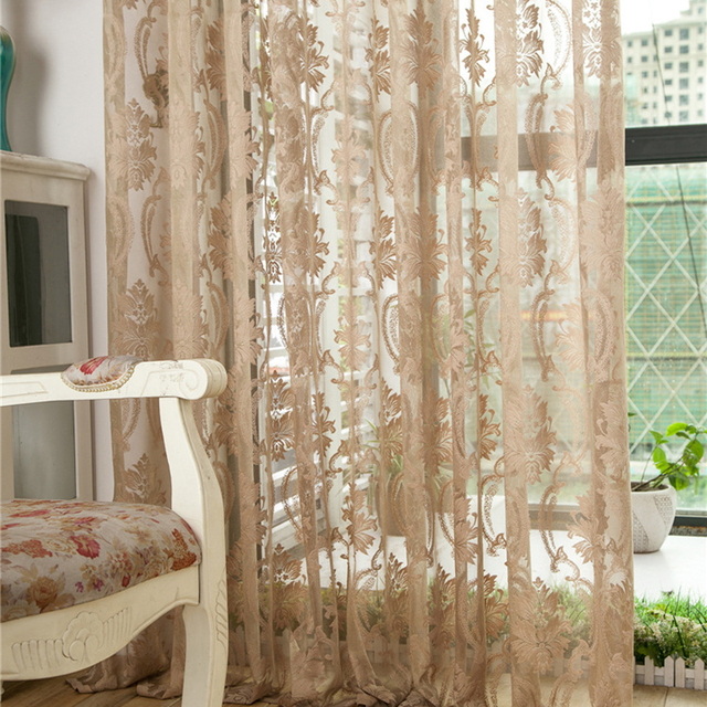 Classic Flower Embroidered Tulle Voile Curtains Fabric Drapes Sheer Curtains  Blinds For Bedroom Living Room Kitchen