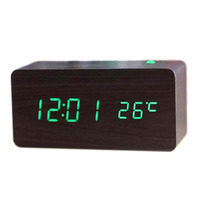 Black Wood Green LED Voice Control Calendar Thermometer Rectangle Wood Wooden LED Digital Alarm Clock USB
