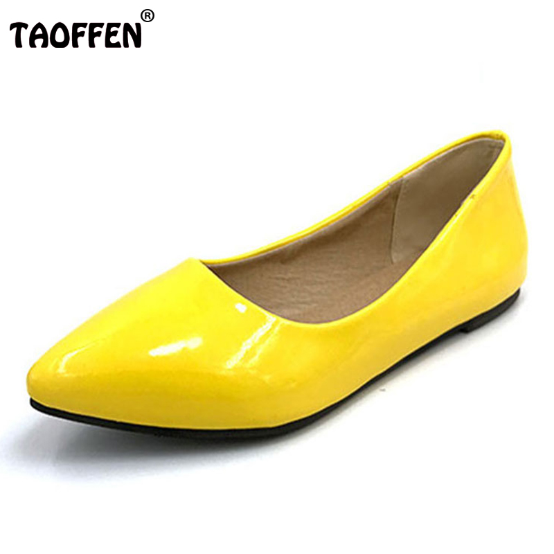 TAOFFEN women flat casual candy color shoes lady sexy dress pointed toe footwear fashion  P11816 hot sale EUR size 32-43 taoffen free shipping high heel shoes women sexy dress footwear fashion lady female pumps p13165 hot sale eur size 32 43