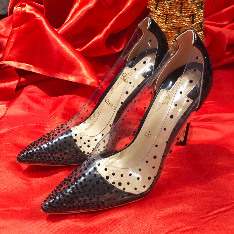 free shipping sexy lady clear pvc crystal strass point toe high heels pumps bride wedding shoes 10cm