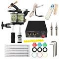 Professional 1 Conjunto Completo Máquina Equipamentos de Tatuagem Tatuagem 1 Gun kit tattoo Power Supply Cord Kit Corpo tatuagem rotary kit DIY ferramentas