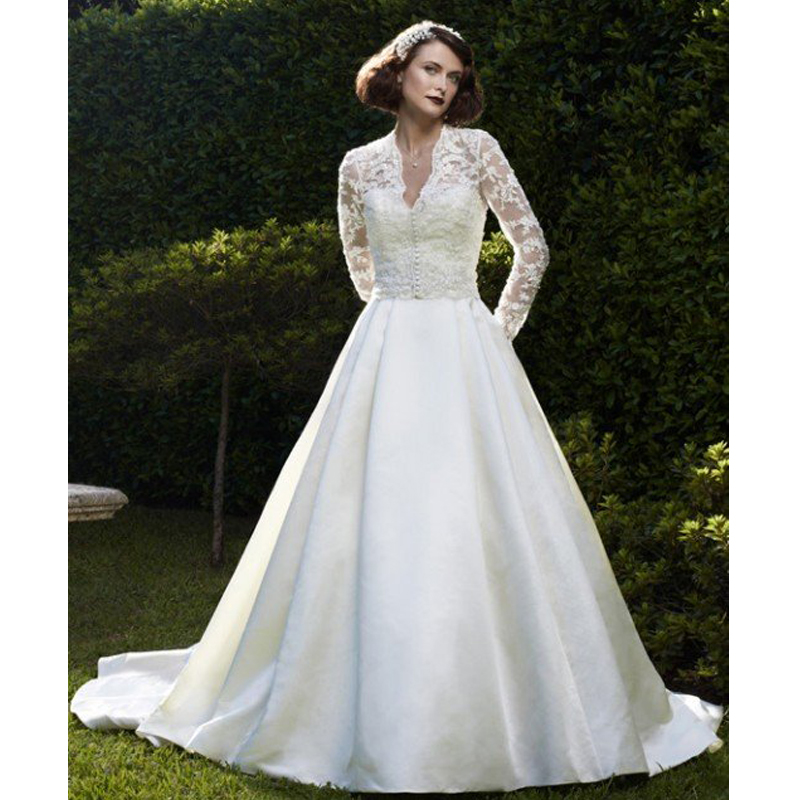 Silk Taffeta Wedding Gowns: Romantic Silk Taffeta Wedding Dress Full Sleeves See