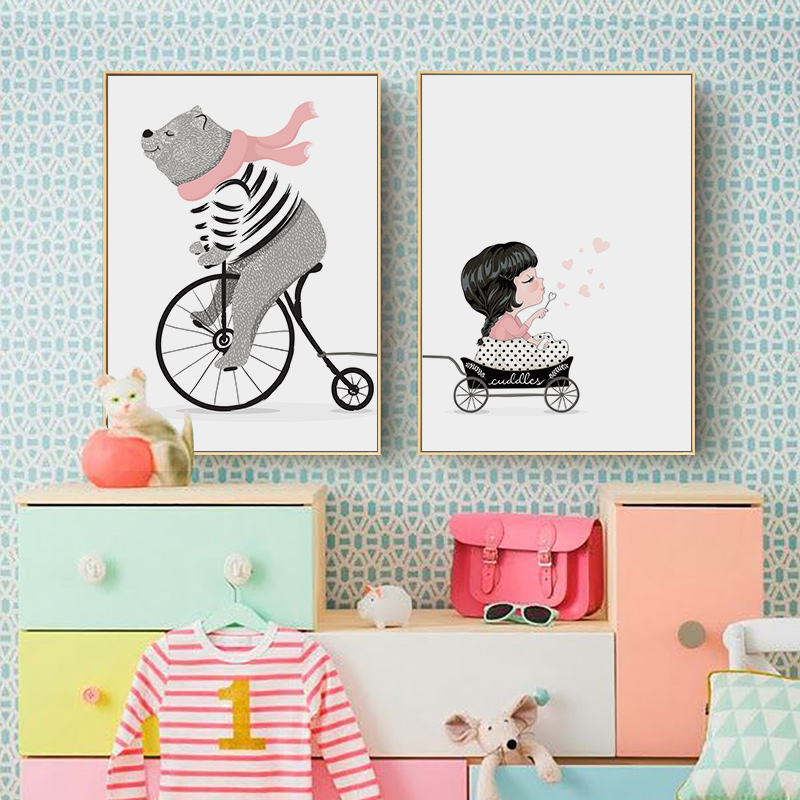 Cycling bear and Little Girl Posters and Prints Wall Pictures For Kids Room Canvas Painting Baby Room Home Decor Print Painting
