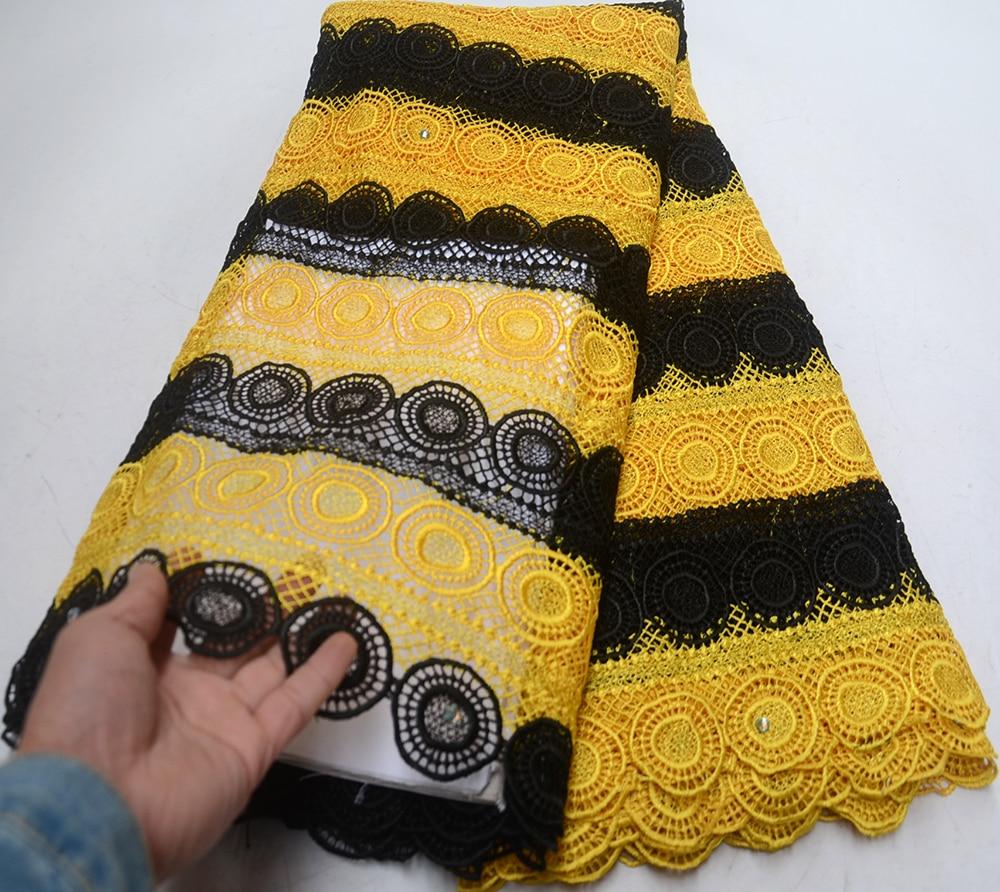 Date noir + jaune mode unique cordon africain dentelle couture maille français dentelle tissu de haute qualité soluble dans l'eau dentelle tissu