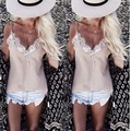 Мода Лето Женщин Кружева Жилет Без Рукавов Рубашки Свободные Топы Плюс Размер
