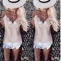 Cordón de Las Mujeres de moda de Verano Chaleco Sin Mangas de la Camisa Suelta Más El Tamaño Tops