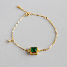 Woman Korean 100% S925 sterling silver fashion handmade geometric square Bangle green cz zircon bracelet chain female Girl Gift