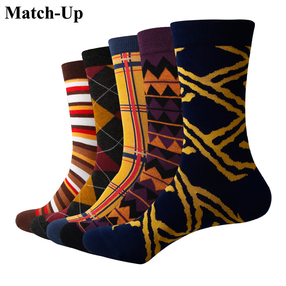 Match-Up Mens Funny Colorful Combed Cotton Socks Orange series Casual Dress Wedding Socks(5pairs/lot)