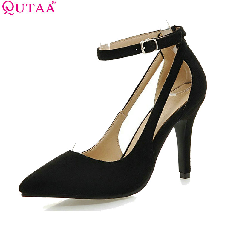 QUTAA Red Scrub Thin High Heel Ladies Summer Shoes PU leather Woman Pumps Pointed Toe Ankle Strap Wedding Shoe Size 34-43 plus size 11 12 black pointed toe wedding women shoes summer office ladies work shoes thin high heel pu leather woman pumps
