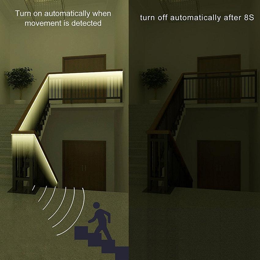 1M 2M 3M 2835 étanche PIR détecteur de mouvement LED bande lumière à piles armoire placard cuisine chambre armoire veilleuse 5