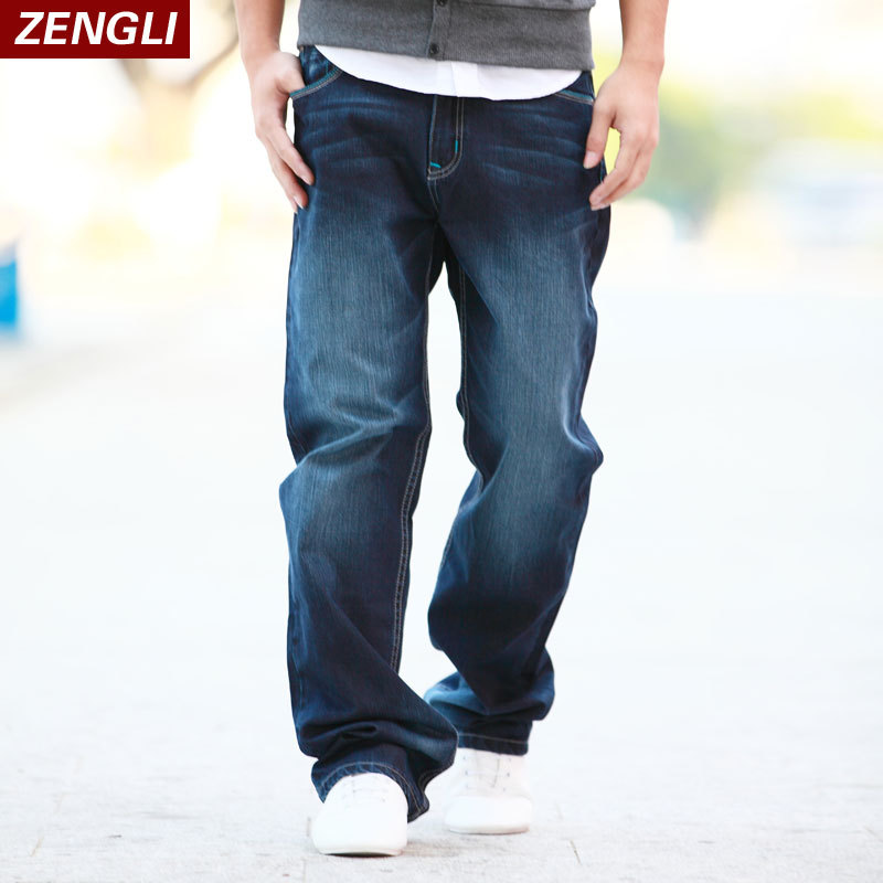 ZENGLI Cotton   Jeans   men Solid Retro Fashion Casual Loose   Jeans   Male Stright Soft Breathable Comfortable Brand Pants Big Size 48