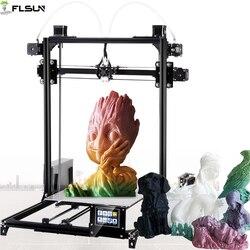 2019 Flsun I3 3D Drucker Große Druck Größe Dual Extruder 3D-Printer 300X300X420mm Druck größe Touch bildschirm Erhitzt Bett Filament