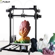 2019 flsun i3 impressora 3d grande tamanho de impressão dupla extrusora 3d impressora 300x300x420mm tamanho de impressão tela sensível ao toque cama aquecida filamento