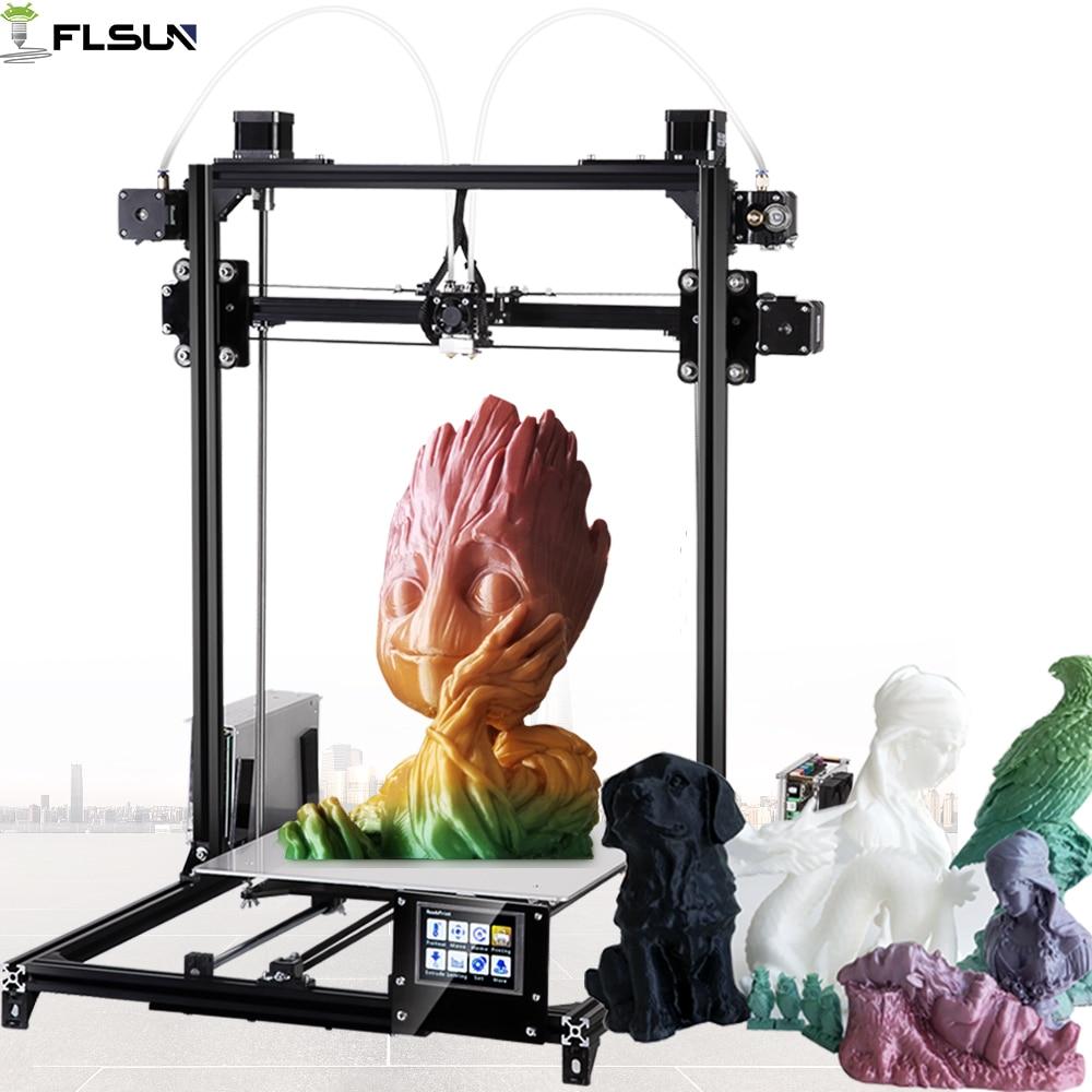 2019 Flsun I3 3D imprimante grande taille d'impression double extrudeuse 3d-imprimante 300X300X420mm taille d'impression écran tactile Filament de lit chauffé