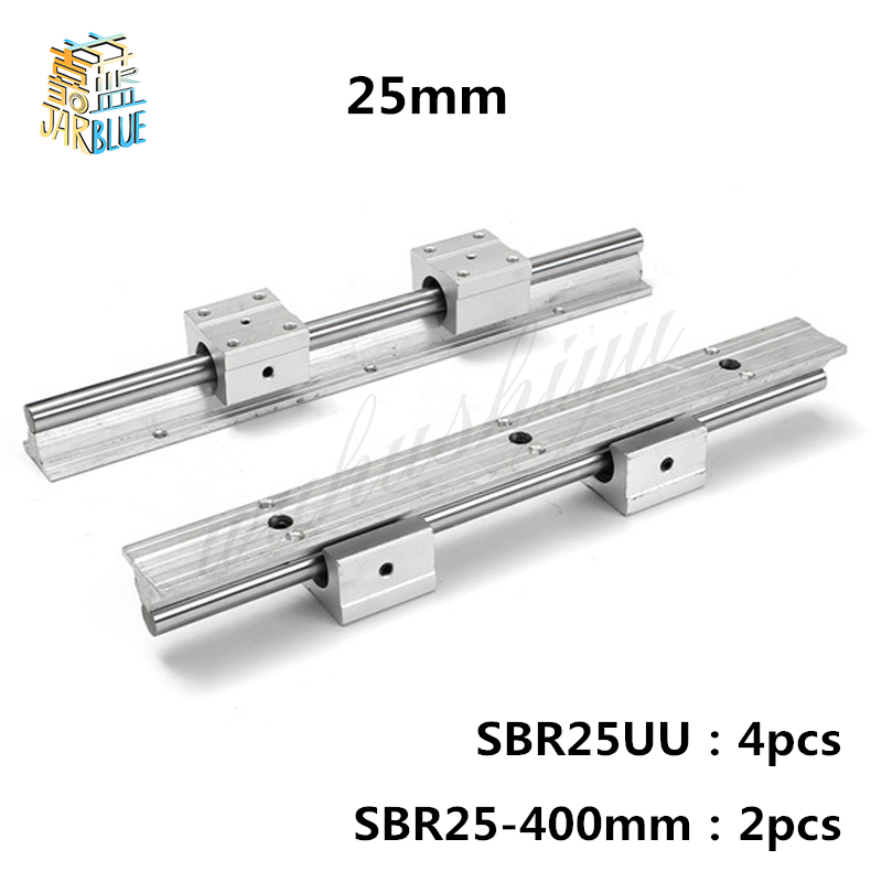2pcs SBR25 400mm Linear Bearing Rails with 4pcs SBR25UU Linear Motion Bearing Blocks 2pcs sbr25 900mm supporter rails 4pcs sbr25uu blocks for cnc linear shaft support rails and bearing blocks
