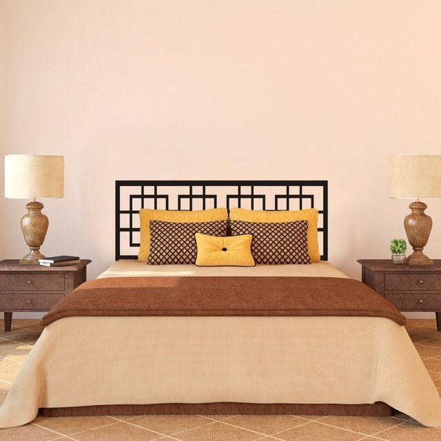 modern headboard wall decal master couple bedroom vinyl art