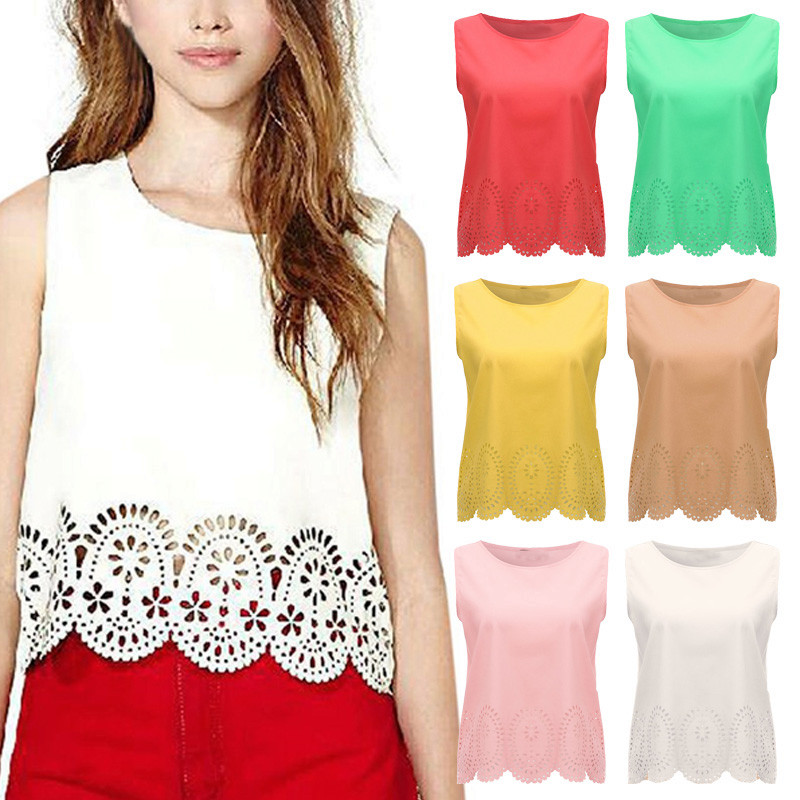 Plus Size 2018 Fashion Women Summer Cropped Top Chiffon Sleeveless Hollow Out Casual Tops Tank Blusas Femininas 6 Colors