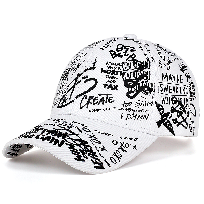 high quality fashion Graffiti printing baseball cap Adjustable cotton hip hop hats Spring summer outdoor leisure hat  Couple cap