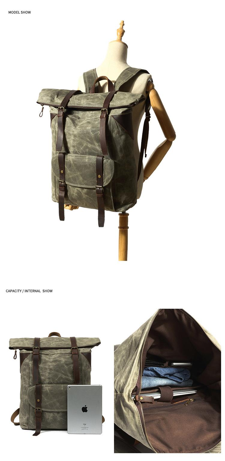 showcase of the army green Vintage Duffle Backpack