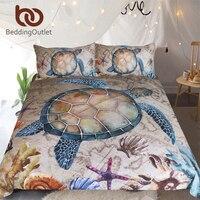 BeddingOutlet Sea Turtle 3 Piece Bedding Set Map Tortoise Duvet Cover Starfish Shells Nautical Bed Set Marine Animal Bedclothes