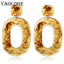 YAOLOGE Classic Round Acrylic Earrings Fashion Creative Personality Jewelry Bohemian Style Vintage Statement For Women
