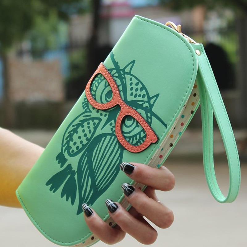 2017 New Fashion Cute Owl Glasses Printing Women Long Wallet PU Leather Purse Clutch Zipper Handbags Free Shipping