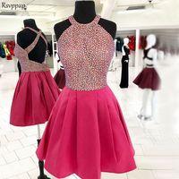 Потрясающее короткое платье на выпускной 2019 милый топ с крупным бисером сладкий 16 ярко розовый 8th без спинки класс выпускные платья