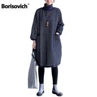 Borisovich New 2017 Autumn And Winter Fashion Double Pockets Dot Turtleneck Thick Cotton Women Casual Dresses Plus Size Q143