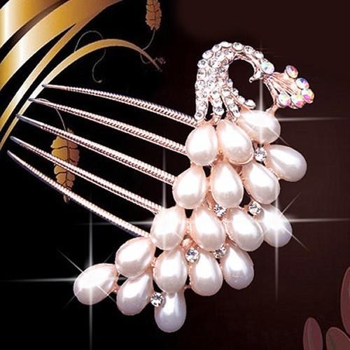 Rhinestone Pearls Hairpin Fashion
