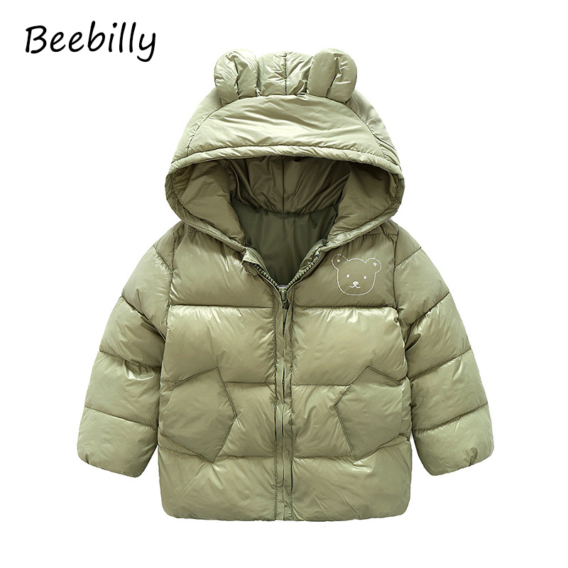 New Baby Girls Clothes Coats Children's Winter Thick Warm Cotton Jackets Kids Sports Hooded Outerwear Boys Bear Ear Style Parkas 2017 winter baby coat kids warm cotton outerwear coats baby clothes infants children outdoors sleeping bag zl910