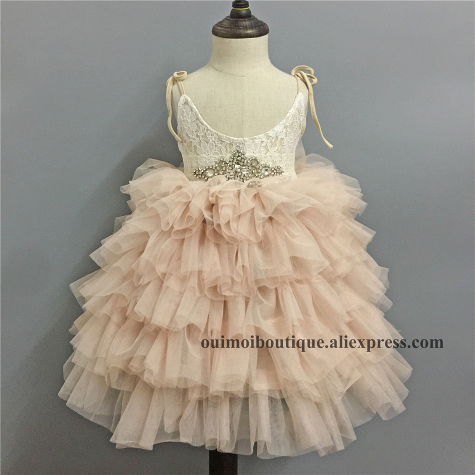 2018 New Champagne Lace Girl Strapped Long Dress Puffy Sleeveless Layered Princess Dresses Birthday Wedding Formal