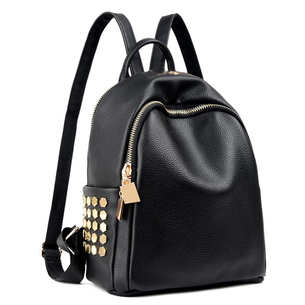 Women Casual Simple Earphone Hole Adjustable Strap Shopping Zipper Waterproof Backpack School Multifunctional Durable Portable