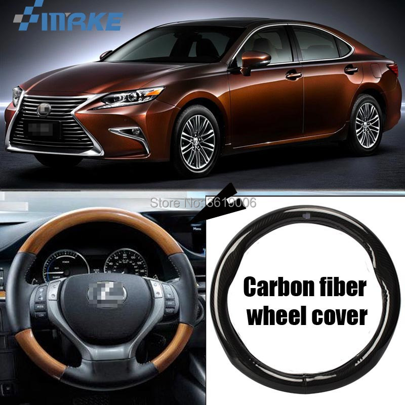smRKE Car Accessories For Lexus ES Black Carbon Fiber Leather Steering Wheel Cover Sport Racing Car Styling