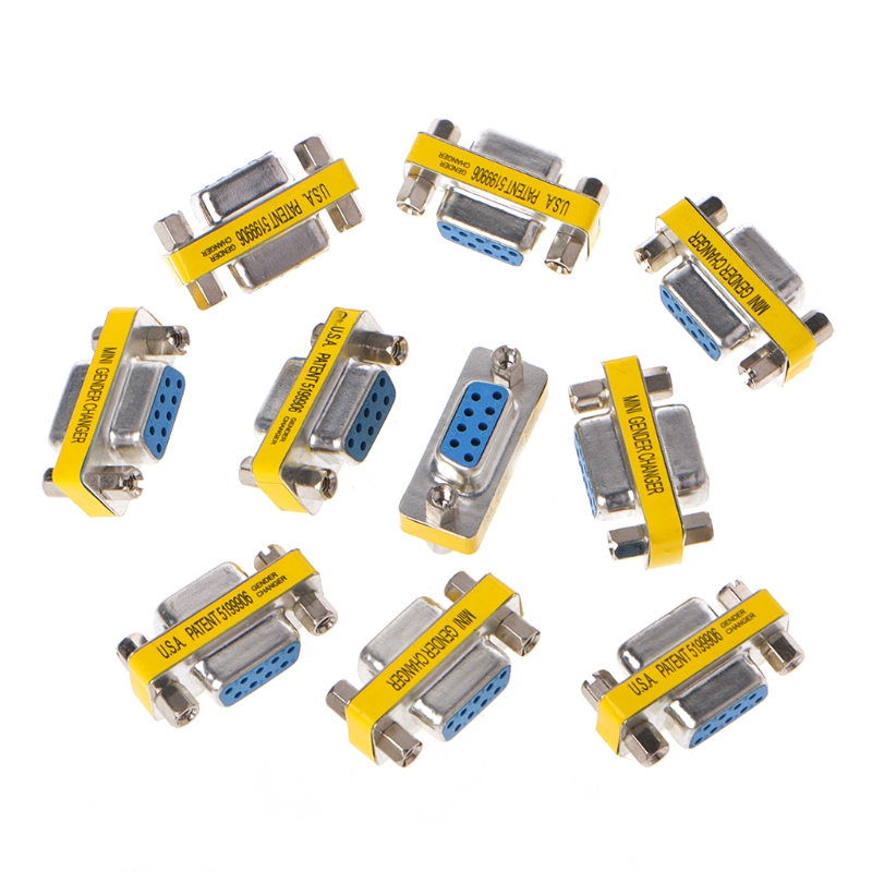 10Pcs RS232 Serial DB9 Female To Female Mini Gender Changer Adapter Connector L15 rs232 db9 9pin male to female mini gender changer adapter converter a to b serial connector port