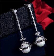 Tyme plata larga Saturn perla pendiente pendientes de acero inoxidable joyas de moda Pendiente de oro para las mujeres