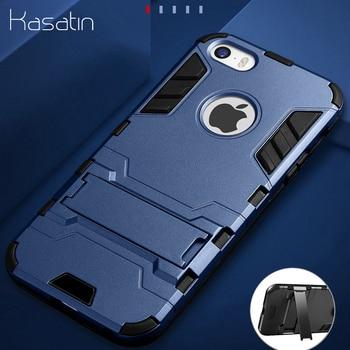 6bc7a3457d1 Funda protectora dura para iPhone 5C Armor para iPhone 5S SE 6 6 S 7 8 Plus  X fundas para teléfono XR XS Max con soporte funda