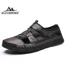 ALCUBIEREE Summer Mens High Quality Flat Slides Genuine Leather Men Sandals Male Casual Breathable Beach Shoes Non-slip Slippers все цены