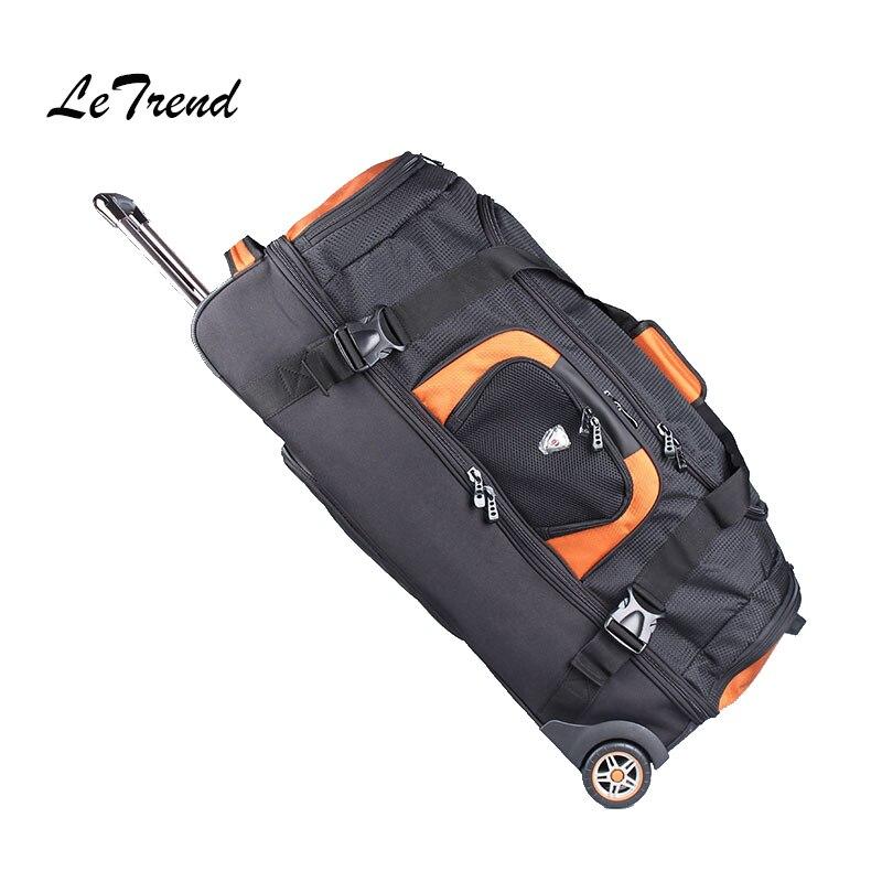 LeTrend 27/32 дюйма Большая емкость дорожная сумка прокатки Чемодан чемоданы колеса Для женщин Оранжевый сумки на плечо Для мужчин рюкзак