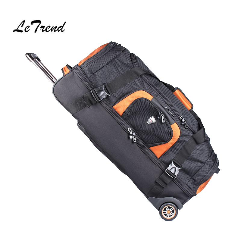 LeTrend 27/32 inch large capacity Travel Bag Rolling Luggage Suitcases Wheel Women Orange Shoulder Bags Men's Backpack letrend waterproof travel bag large capacity folding suitcases wheel trolley women rolling luggage handbag