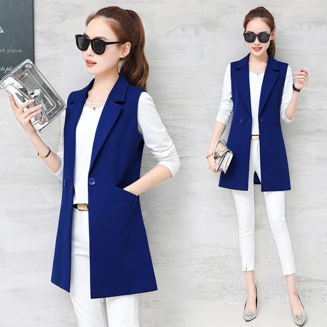 2018 spring and autumn wild women's vest long section Korean Slim was thin sleeveless suit vest vest jacket jacket 3