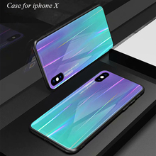For iphone X Case Tempered Glass for iphoneX Hard Back Cover Soft TPU Silicone Bumper On