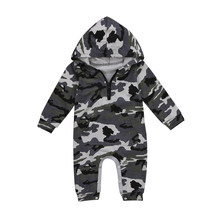 Newborn Baby Boy Camouflage Romper long sleeve Hooded Jumpsuit Clothes Outfits zipper pocket Rompers for baby boys(China)