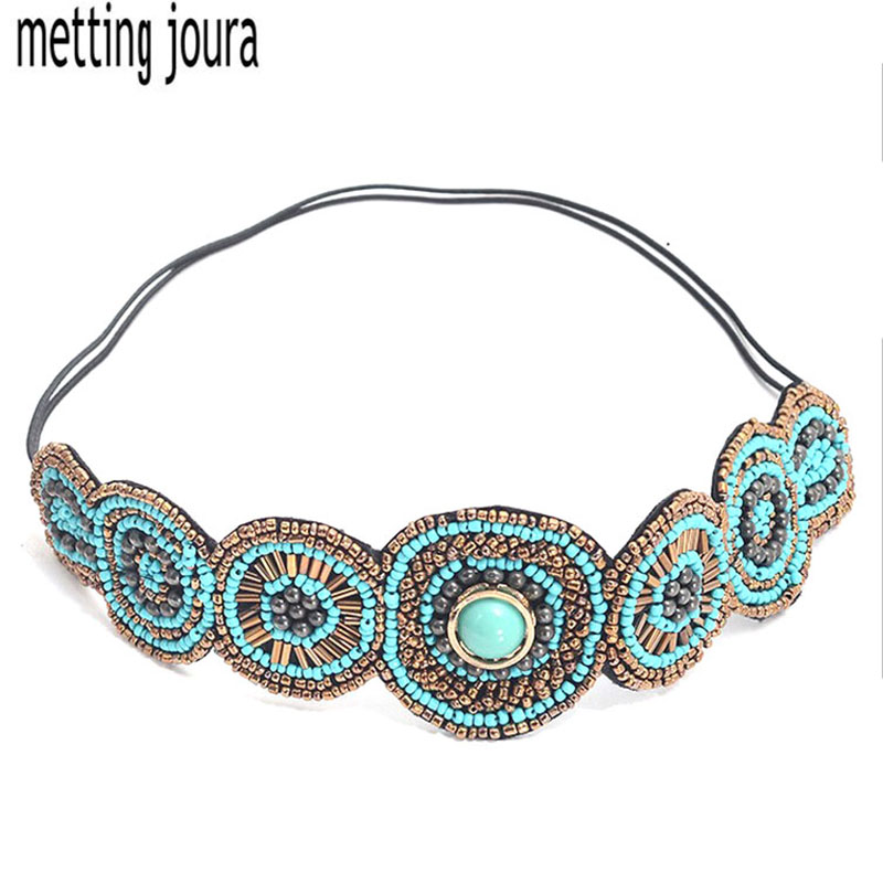 Metting Joura vintage bohemian ethnic turquoise seed beads braided flower  elastic headband hair band hair accessories vintage bohemian ethnic colored tube seed beads flower rhinestone handmade elastic headband hair band hair accessories