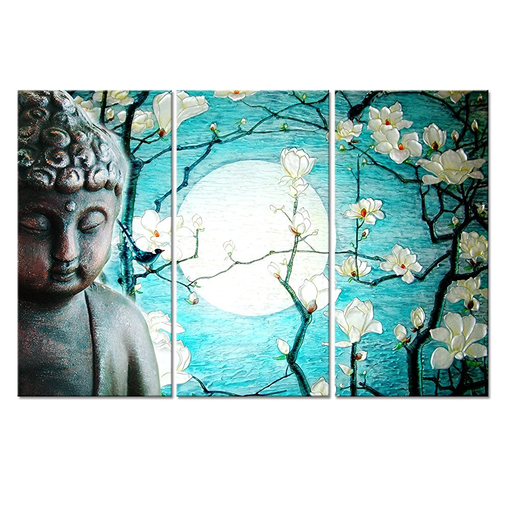 Canvas quiet Buddha series and flowers 3 classic style picture decoration wall landscape painting art decorative printing framed