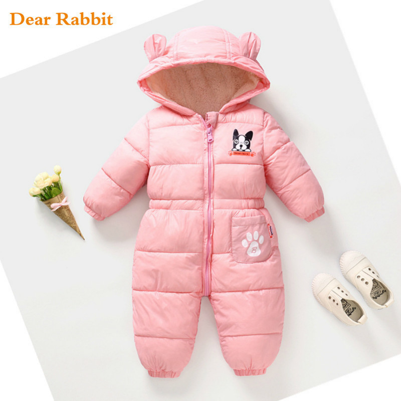 2018 new born baby spring winter clothes cotton thick warm Hooded baby jumpsuit boy girl   romper   children snowsuit down clothing