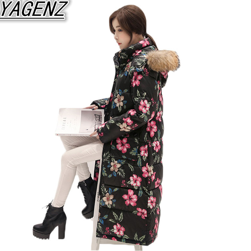 2018 Winter Women Jacket Coat Women Large size Hooded Warm Cotton-padded Coats Printed Thicken High-end Women Clothing Outerwear 2018 winter jacket coats women large size xl 6xl 7xl down cotton hooded overcoat warm parkas women cotton coat boutique clothing